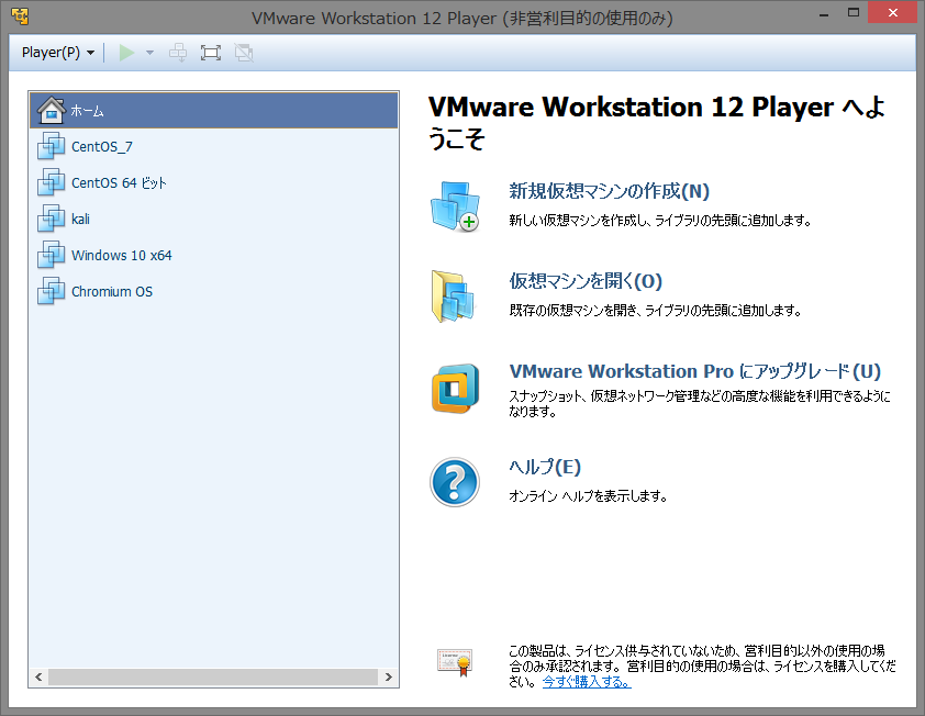 VMware Workstation 12 Playerの起動画面